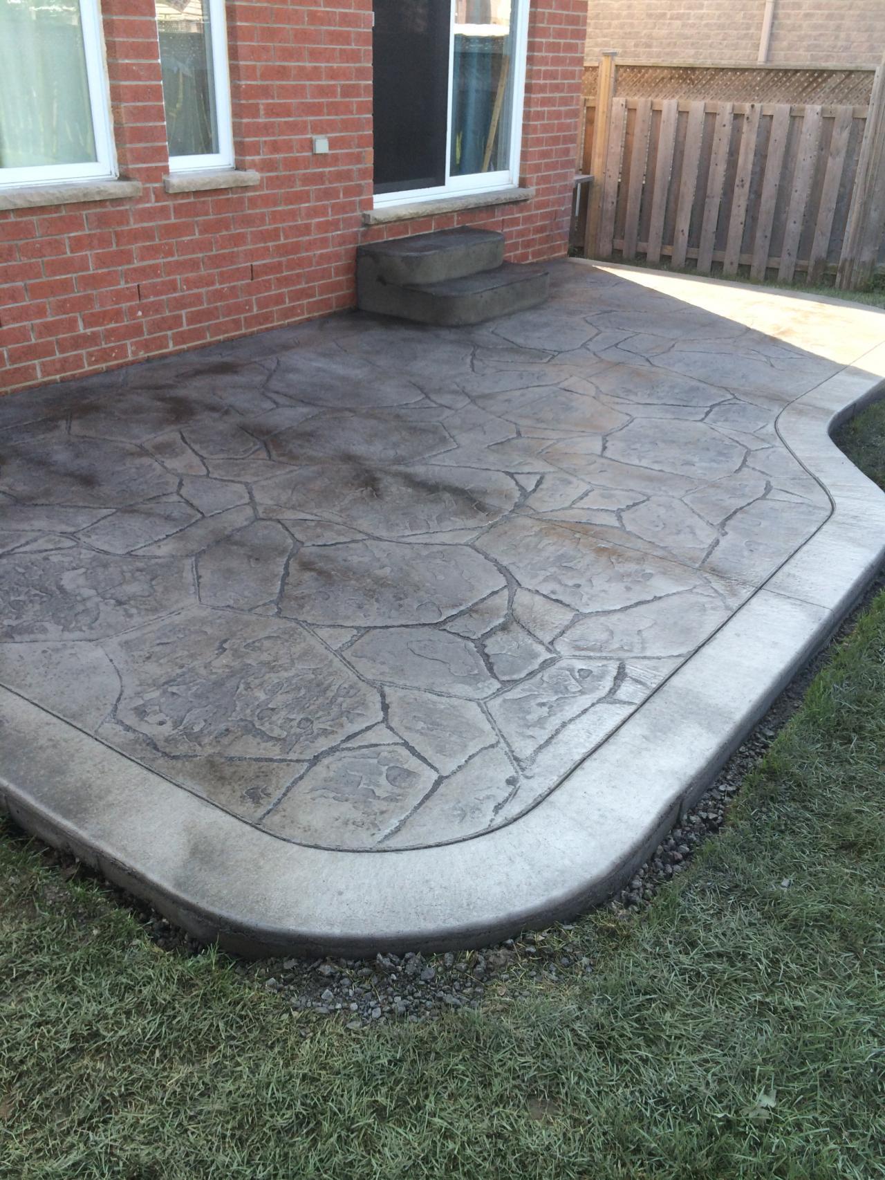 ... Arizona Flagstone Stamped Concrete Patio With Curb Edge Border In  London Ontario ...
