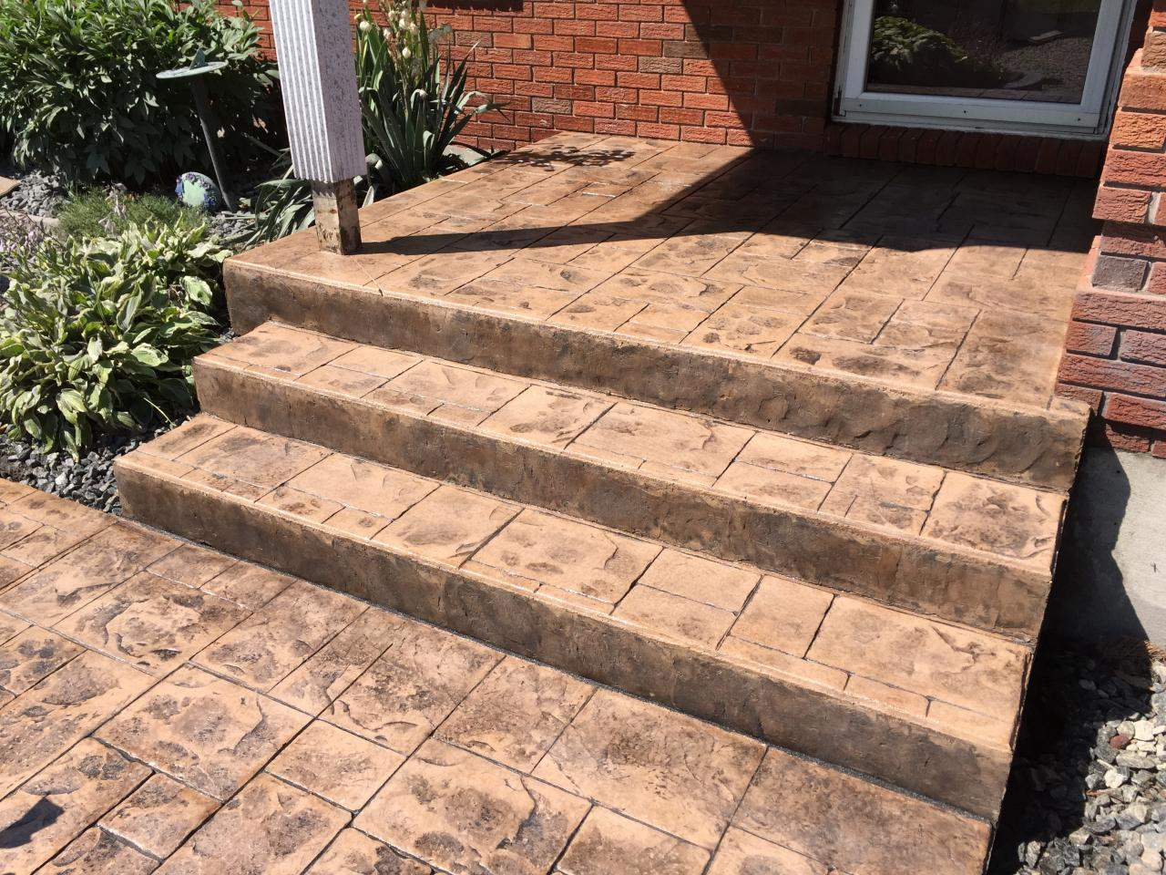 stamped concrete steps brick small ashlar stamped concrete steps with step faces in parkhill ontario thames valley decorative inc
